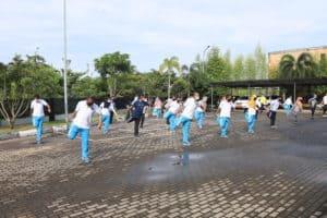 Pembinaan Jasmani dengan berlatih Bela Diri bersama Kepala BNNP KEPRI